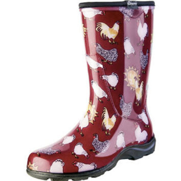 Sloggers Women's Rain & Garden Boot, Barn Red Chicken Print - For Life Out Here