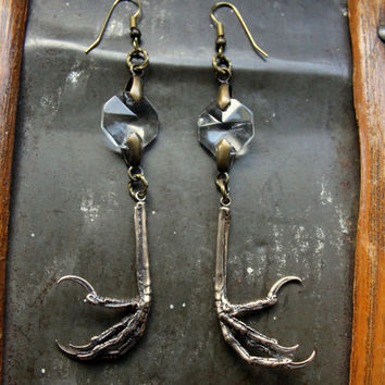 Bird Feet and Crystal Earrings - Primal Elegance - Moon Raven Designs 056