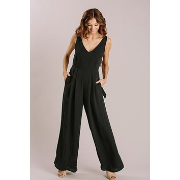 Abigail Black Tie Back Jumpsuit