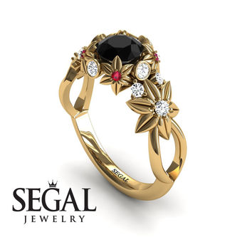 Unique Engagement Ring 14K Yellow Gold Flowers And Branches Art Deco Edwardian Ring Black Diamond With White diamond - Katherine