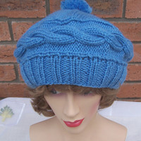 Hand Knitt Hat, Cable Beret, Pom Pom Beret, Slouchy Hat in Blue