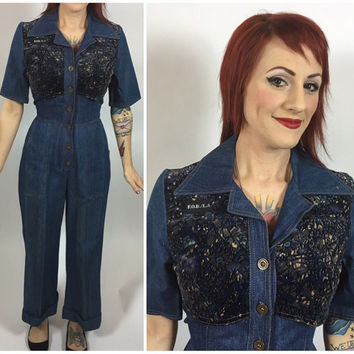 PERFECT Vintage 1970's Denim Jumpsuit High Waist Bell Bottoms