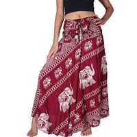 Women Bohemian Hippie Red Skirt Elephant Print 2017 Summer Beach Long Skirt Vintage Maxi Skirts High Waist Tie up Skirts