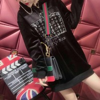 """Louis Vuitton"" Women Casual Fashion Velvet Rhinestone Letter Long Sleeve Hoodie Sweater Pullover Tops"