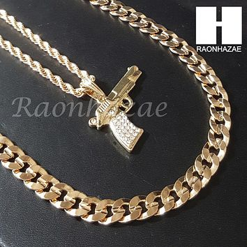 "MEN ICED OUT MACHINE GUN CHAIN DIAMOND CUT 30"" CUBAN LINK CHAIN NECKLACE S076G"