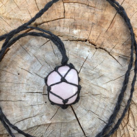 Hemp Necklace: Rose Quartz Stone Wrapped with Hemp Cord, Healing Stone, Hemp Jewelry, Rose Quartz, Crystal Necklace, Macrame
