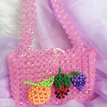 Crystal Bead Covered Mini Handbag With Fruits