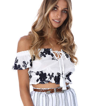 Strapless Flower Embroidery Cami Crop Shirt Top Tee