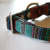 Turquoise Blue Orange Mexican Woven Dog Collar -N-