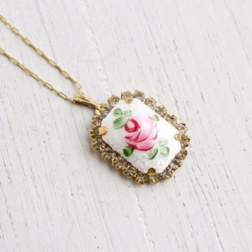 Vintage Flower Necklace - 1950s Gold Tone Pink Enamel Rose, White Guilloche Costume Jewelry / Sweet Floral