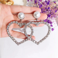 Fashion women new pearl love heart diamond earring personality accessories Silver
