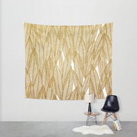 Golden Leaves Wall Tapestry- modern wall decor- gold and white leaves- nature art- minimalist home decor- fabric wall decor
