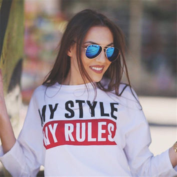 SIMPLE - MY STYLE MY RULES Printed Long Sleeve Extra Long T-Shirt a11172