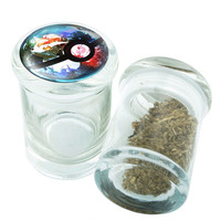 Stash Jar - Glass Pop Top - Pokemon Pokeball #1  - Storage Container -  Custom Herb Grinder Secret Stash Box - Stay Fresh Herbs 1/6 oz.