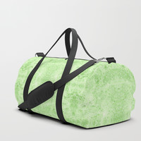 Greenery and white swirls doodles Duffle Bag by Savousepate