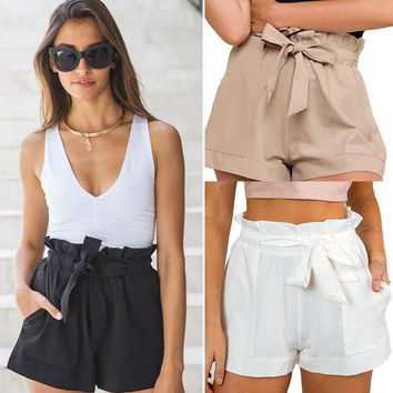 Fashion Ladies Women Casual High Waist Shorts Crepe Woven Tie Shorts Hotpants Summer Clothes