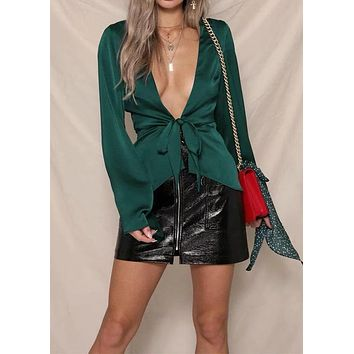 Shirt Women's Lace Up Solid Deep V Bell Sleeve