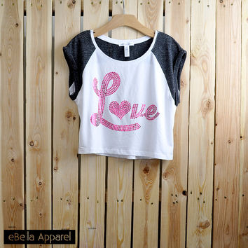Love Foil - Women's Contrast Short Sleeve, Graphic Foil Print Crop Top