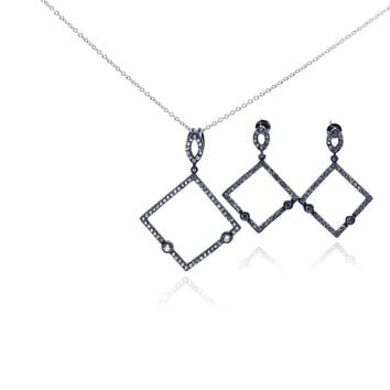 .925 Sterling Silver Rhodium Plated Open Square Black Cubic Zirconia Dangling Earring & Necklace Set