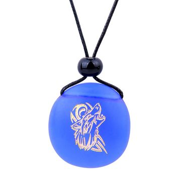 Amulet Frosted Sea Glass Stone Celtic Energy Howling Wolf Good Luck Powers Royal Blue Adjustable Necklace