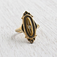Vintage Art Deco Style Rhinestone Ring - Adjustable Gold Tone Signed Avon Costume Jewelry Shield Cocktail Ring / Kensington Star
