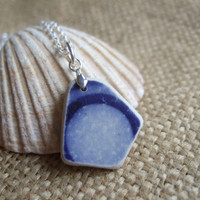 Scottish sea Pottery rising moon pendant in blue and white on sterling silver necklace, beach sea pottery necklace, 100 year old, maritime