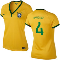 David Luiz #4 Brazil Nike Womens 2014 World Soccer Replica Home Jersey - Maize