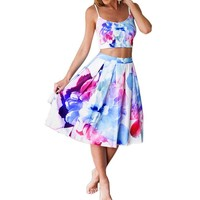FINEJO Women's Floral Strappy Crop Top Midi Skirt Pleated Party Dress 2 Pcs Set