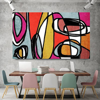 """Vibrant Colorful Abstract-0-43. Mid-Century Modern Red Yellow Canvas Art Print, Mid Century Modern Canvas Art Print up to 72"""" by Irena Orlov"""