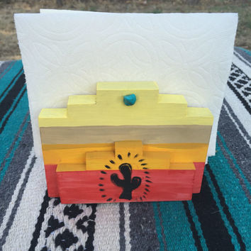 Southwest Serape Turquoise Napkin Holder