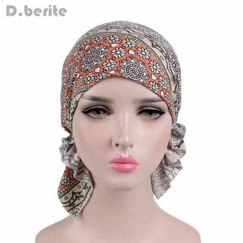 Fashion Design Women Muslim Stretch Turban Hat Chemo Bonnet Hair Loss Cancer Head Scarf Wrap Hijib Cap QDD9339