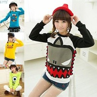 New Korean Women Fashion Sweet Cartoon Long Sleeve Pullover Hoody Sweatshirt
