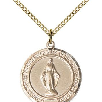 14K Gold Filled Our Lady Grace Miraculous Virgin Mary Medal Necklace Pendant 617759999280
