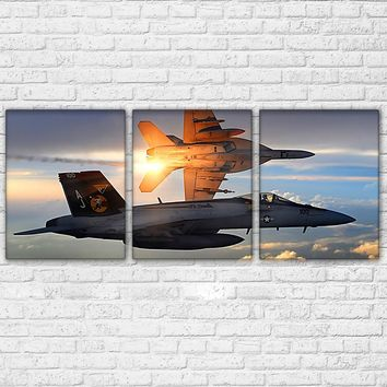 Air Force Military Jet Aircraft Planes Flying Sunset Sky Wall Art Canvas Panel