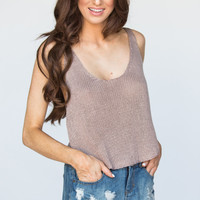 Hazel Knitted Taupe Crop Top