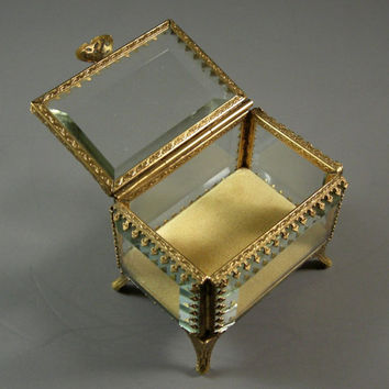 Stylebuilt Beveled Glass Ormolu Jewelry Casket // Wedding Ring Bearer Box