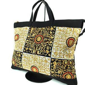 Authentic VERSACE Medusa Nylon Canvas Black, Yellow Gold Hand Bag VH0004
