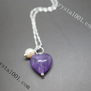 Heart Stone Initial Amethyst Tiny Sterling Silver Necklace