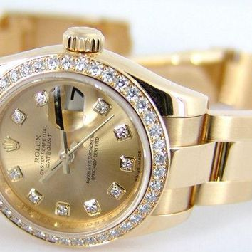 ROLEX - 18kt Gold 26mm Ladies President CHAMPAGNE Diamond Dial 179138 SANT BLANC