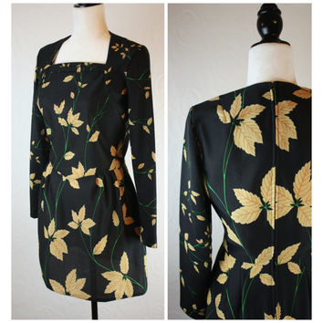 Leslie Fay original 60's vintage dress; approx size S; dark blue with leaf print