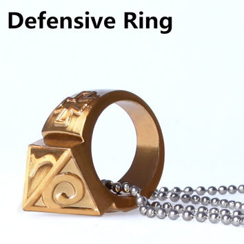 Self-defense Ring Shocker Weapons Product Survival Ring Tool Pocket Women Self Defense Ring With Necklace Zinc Alloy Travel Kit