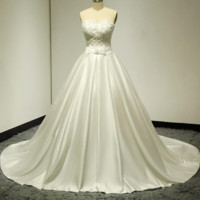 Satin Wedding Dress with Pocket Semi-sweetheart Pearl Beaded Bow Tie
