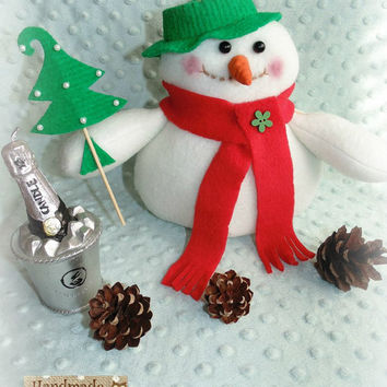 Free shipping Snowman Edison in Tilda style - best gift and decoration for New Year and Christmas stuffed toy Interior toy