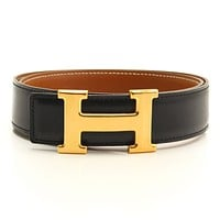 AUTHENTIC HERMES CONSTANCE LEATHER H BELT BLACK BROWN A GRADE A USED -AT*