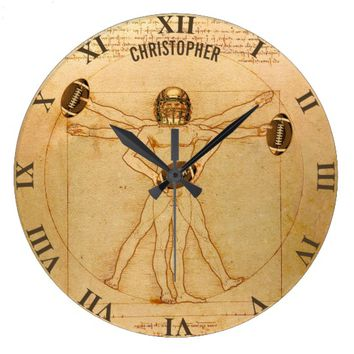 Leonardo Vitruvian Man As American Football Player Large Clock