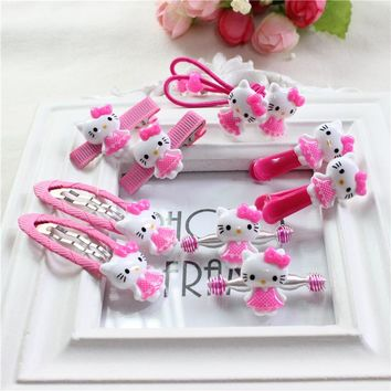 AKWZMLY 10Pcs Fashion New Hair Clip Children Girl Hair Accessories Bow Cute Kitty Hair Bands Jewelry Ropes Gum Hairpins with Box