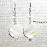 "Earrings : 925 Sterling Silver, Mother Of Pearl, Swarovski Element , And Czech Beads  ""Opulence"""