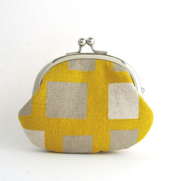 Frame Coin Purse- squares on mustard yellow