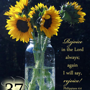 Bible Greeting Card - Rejoice in the Lord - Sunflowers Photo - Encouragement Card - Philippians 4:4 - Scripture Note Card