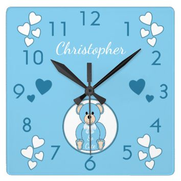 Blue Teddy Bear Clock nursery decor